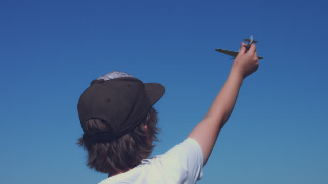 4k Dublin Airport, Boy Playing with Toy Airplane video