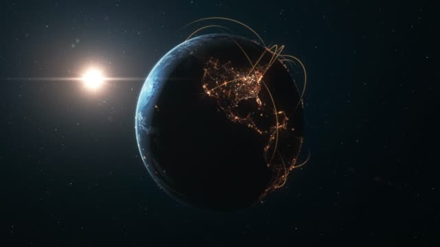 4k earth with connection lines (zoom in) - international network / flight routes - ingrandimento video stock e b–roll