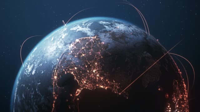 4k earth with connection lines - loopable - international network / flight routes - глобальная система связи стоковые видео и кадры b-roll
