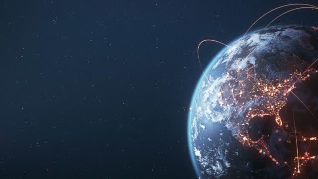 4k earth with connection lines (copy space) - loopable - international network / flight routes - państwo lokalizacja geograficzna filmów i materiałów b-roll