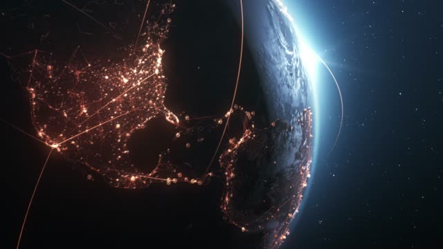 4k Earth With Connection Lines (Close Up) - Loopable - International Network / Flight Routes