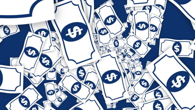 4k Falling Dollar Notes Seamless Loop Animation Top View with 2d Graphic Style. video