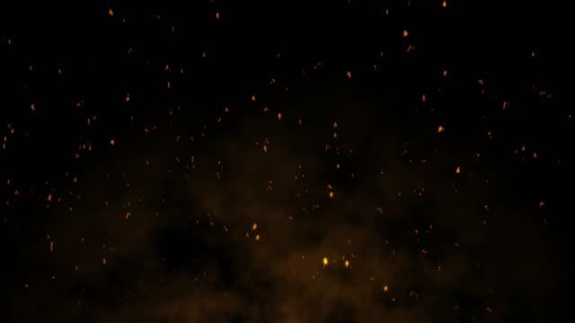 scintille di fuoco 4k - loop (movimento verticale) - inferno video stock e b–roll