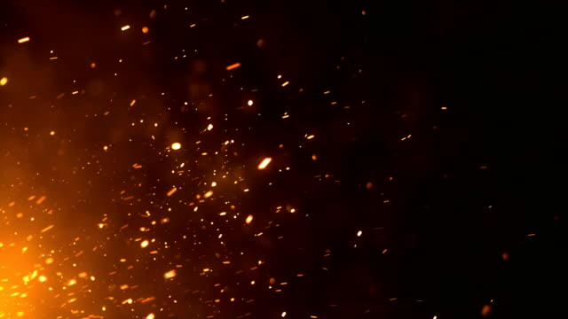 4k Fire Sparks - Loop (Horizontal Movement) Highly detailed animation of sparks produced by an off-screen fire. fireworks videos stock videos & royalty-free footage