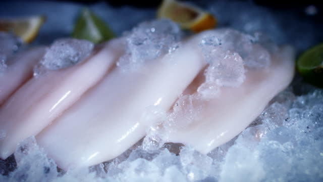 4k Fish and Seafood on Ice, Dolly of Clean Squid video