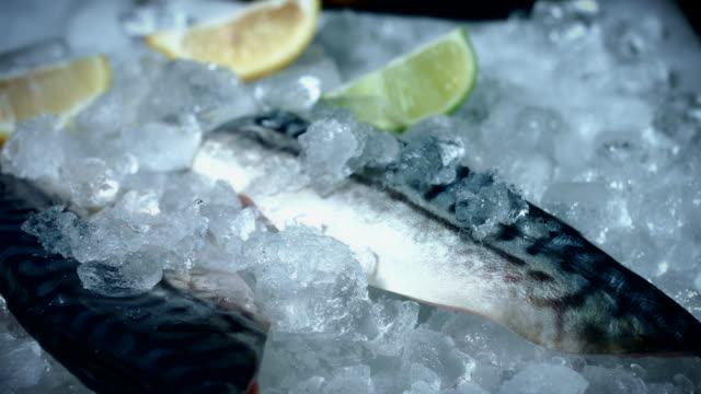 4k Fish and Seafood on Ice, Dolly of Mackerel Fillets video