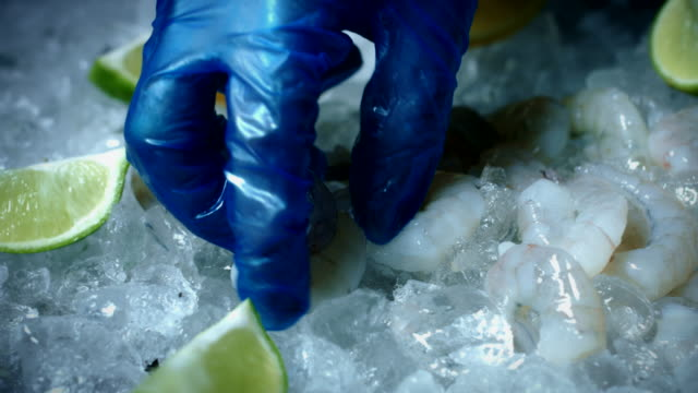 4k Fish and Seafood on Ice, Dolly of Peeled Prawns video
