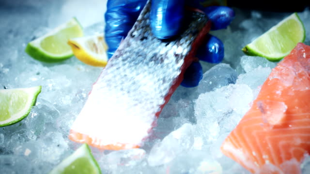 4k Fish and Seafood on Ice, Dolly of Red Salmon video