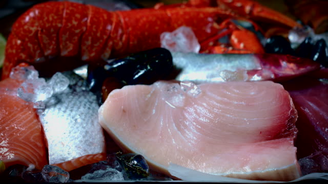 4k Fish and Seafood on Ice Mix, dolly shot video