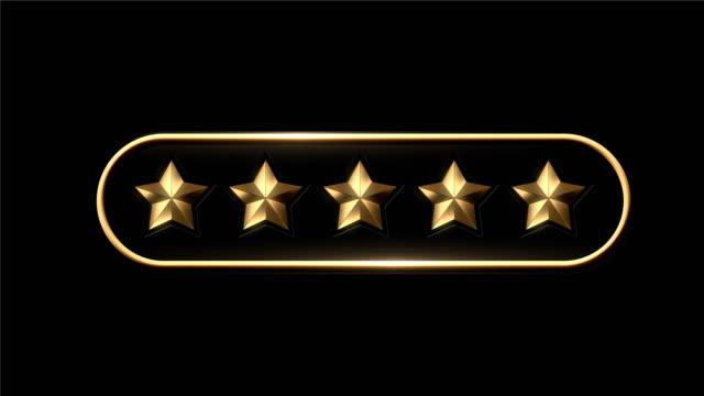 4k five stars rating animation - kształt gwiazdy filmów i materiałów b-roll