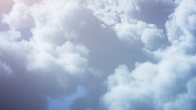 4k Flying Over Fluffy Clouds Background - Loopable - Sunny, Bright, Sky