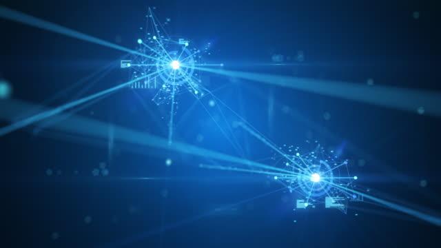 vídeos y material grabado en eventos de stock de 4k volando a través de una red emergente (azul) - loopable - inteligencia artificial, blockchain, big data, seguridad de red, conexiones - visualizador digital