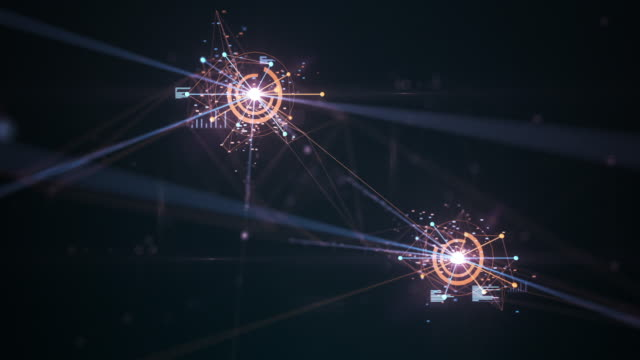 4k flying through an emerging network (multi colored) - loopable - artificial intelligence, blockchain, big data, network security, connections - apprendimento automatico video stock e b–roll