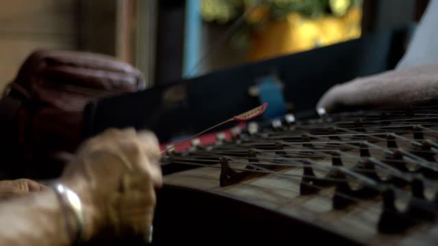 4k Folk musical instrument. Cimbalom music playing video