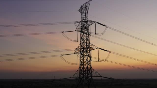 4k Footage Aerial view, High voltage power line.