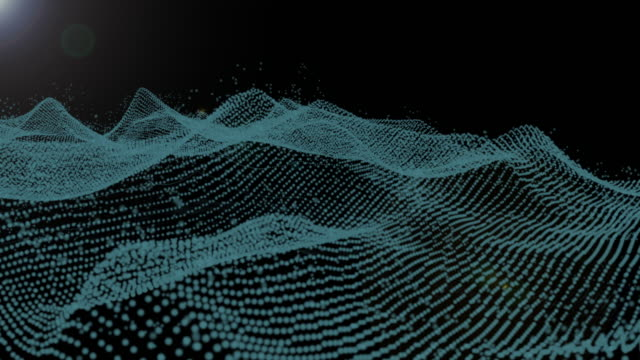 4k Footage Futuristic Particle Wireframe Mountain Form Aurora Light In Galaxy Graphic Design.