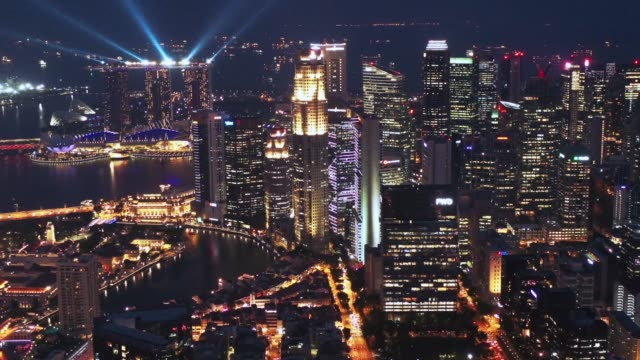 4k footage of Singapore view at Night. Travel and business destination