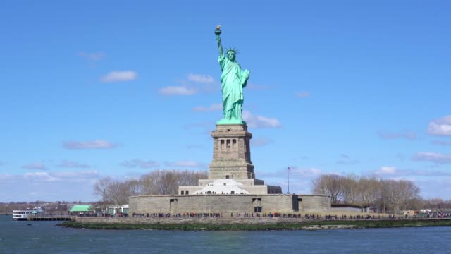 4k footage scene of Statue of Liberty Liberty Enlightening the World on Liberty Island in New York Harbor, Manhattan, New York, USA. Travel and World Heritage concept