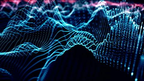 4k futuristic network (blu): intelligenza artificiale, comunicazione globale - dati video stock e b–roll