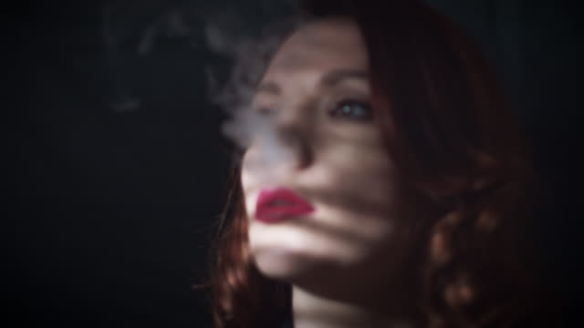 4k Gagster Style Woman Portrait with Smoke video