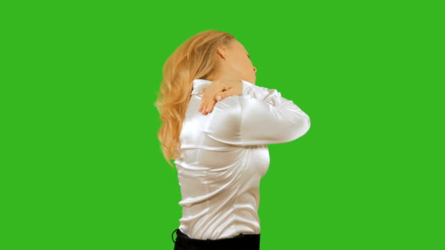 4k, Girl blonde sore shoulder. Isolated on a background. Mockup . chromakey video
