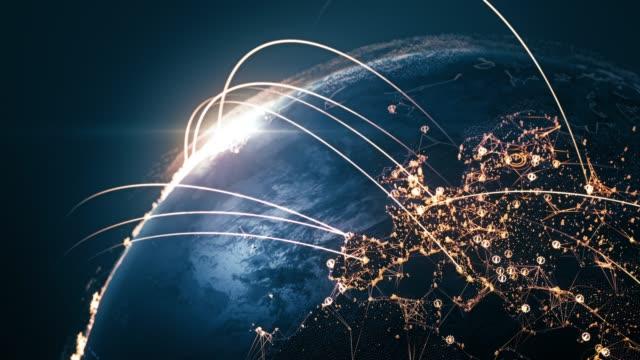 接続線 (クローズアップ) と4k グローブ-6 秒後にループ-国際ネットワーク/フライトルート - グローバル点の映像素材/bロール