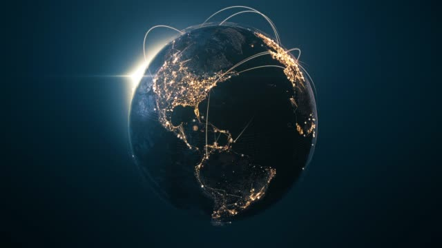 4k globe with connection lines (centered) - loopable after six seconds - international network / flight routes - глобальная система связи стоковые видео и кадры b-roll