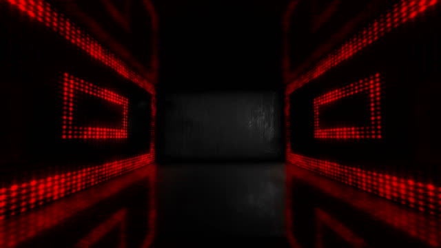 4k glowing stage red neon lights - loopable stock video - светодиодный свет стоковые видео и кадры b-roll