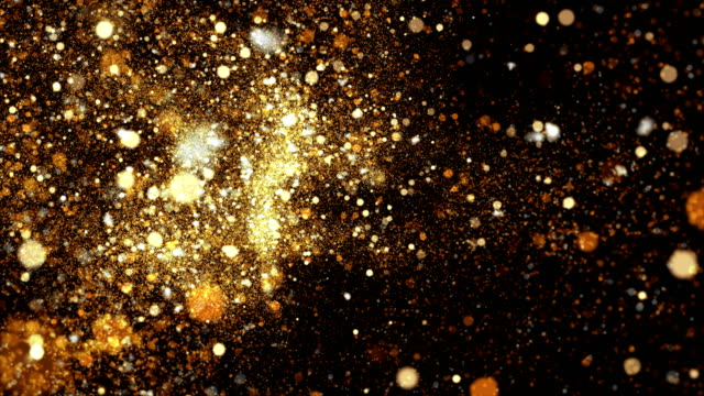 vídeos de stock e filmes b-roll de 4k gold particles background animation - gold
