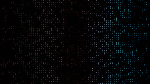 4k gradient, colorful binary code with lots of the number zero glowing and fading out loopable background video on a black screen  for stock market and exchange, data, big data, business finance, communication, internet, virtual reality concepts - binary code stock videos & royalty-free footage