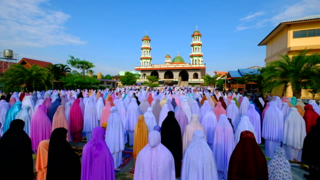 4k Group of Islamic Women during Prayer at mosque video
