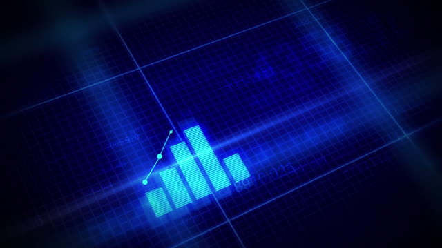 4k Growing Business Chart with blue color.