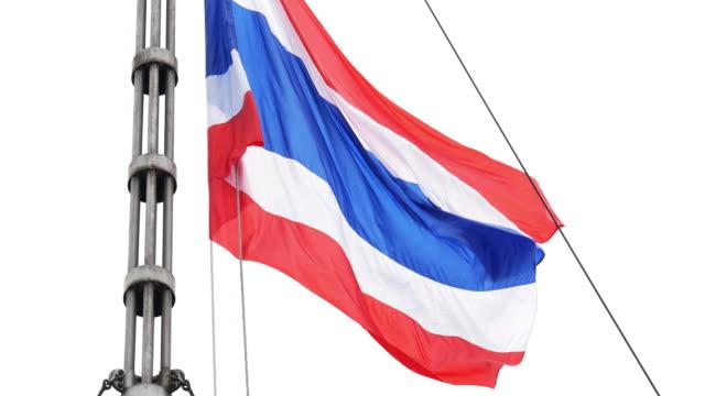 vídeos de stock e filmes b-roll de 4k half-mast thai flag - dia de reis