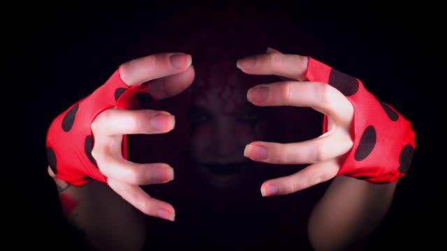 4k Halloween Horror Clown Woman Gesturing Evil video