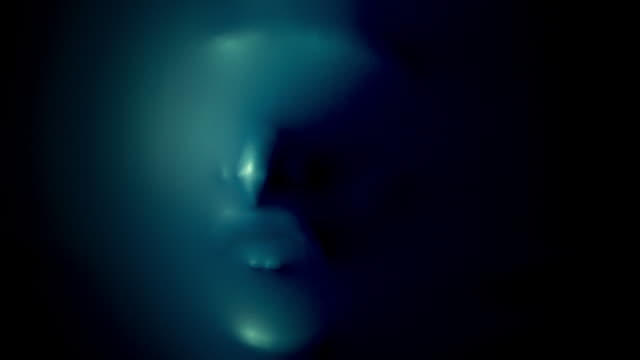 4k Halloween Shot of Silhouette of Creepy Human Face Screaming video