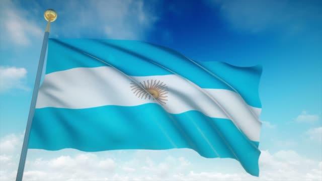 4 k muy detallada bandera Argentina Loopable - vídeo