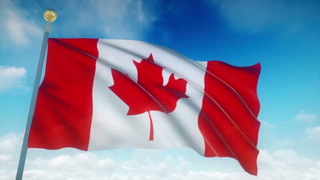 4k highly detailed flag of canada loopable - canada flag stock videos & royalty-free footage