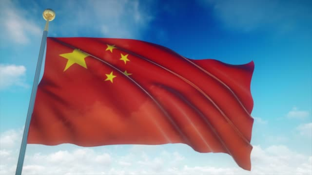 4 k muy detallada la bandera de China Loopable - vídeo