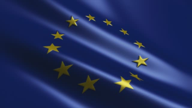 4k Highly Detailed Flag Of Europe - Loopable stock video