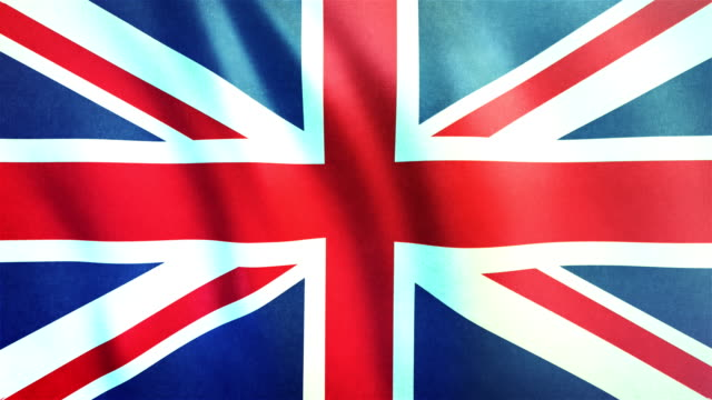 vídeos de stock e filmes b-roll de 4k highly detailed flag of the united kingdom (union jack) - loopable - bandeira