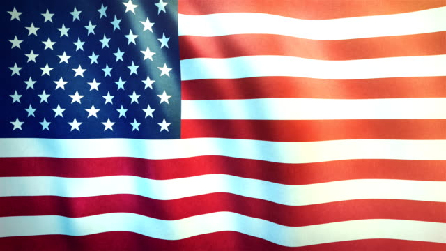 4k highly detailed flag of the united states of america - loopable - giorno dell'indipendenza video stock e b–roll