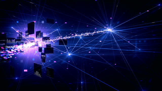 4k Highly Detailed Neural Network, Cloud Computing, Data Processing (Purple) - Loop video