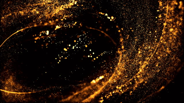 vídeos de stock e filmes b-roll de 4k highly detailed particle stream - loop (gold & black) - comemoração conceito