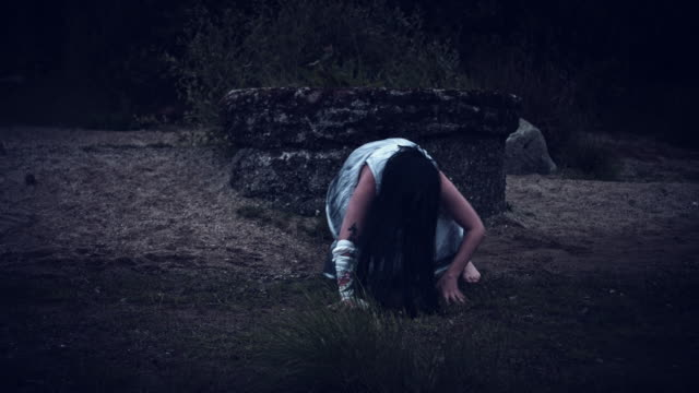 4k Horror Woman in Dirty Dress Crawling video