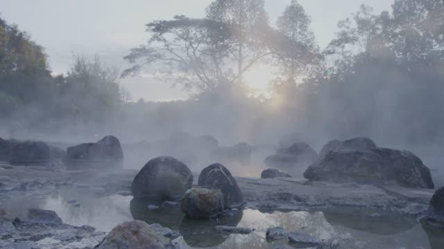 4k, Hot spring water in sunrise