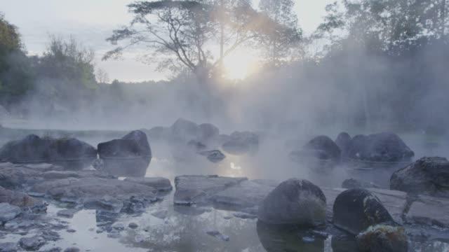 4k ,Hot spring water in sunrise
