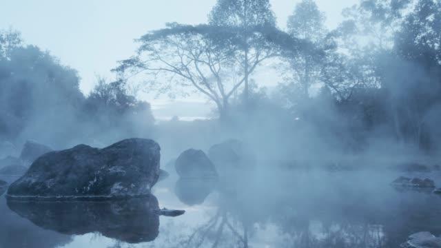 4k , Hot spring water in twilight видео