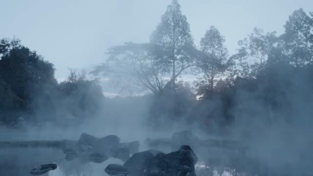 4k , Hot spring water in twilight