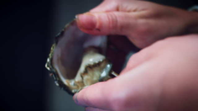 4k Human Hand Opening Oysters video