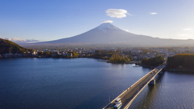 4k Hyper lapse Aerial view of Fuji Mountain at Kawaguchiko Lake,Japan video
